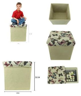 ZEVORA Foldable & Portable Multi Butterfly 2 in One Storage Box, Laundry Organiser Cum Sitting Stool with Lid Cover Easy to Carry Anywhere (32x21Cm)