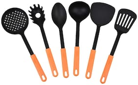 ZEVORA Set of 6 Orange & Black Kitchen Tools Spatula Set for Cooking & Serving with Handle