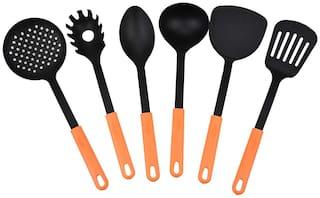 ZEVORA Set of 6 Orange & Black Kitchen Tools Spatula Set for Cooking & Serving with Handle