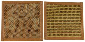 ZEVORA Square Bamboo Coaster Heat Pad, Pan Pot Holder, Heat Insulation Table Ware Pad for Office/Home Set of 2 (17x17 Each)