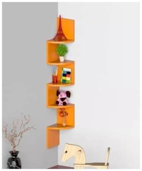 ZigZag Cornera MDF Wall Shelf  (Number of Shelves - 5, Orange)