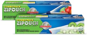 ZIPOUCH Combopack of (Fresh-N-Loc Small+Medium 6+6) (Press-N-Loc Small+Medium 4+4) Total of 20 Pouches (Biodegradable) (Food Storage Bags) 10 pcs Each ( Pack of 2 )