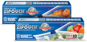 ZIPOUCH Fresh-N-Loc Bioderadable (Small) Microwave & Freezer Safe Retains Freshness Longer 42 Microns 10 pcs Each ( Pack of 2 )