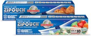 ZIPOUCH Fresh-N-Loc Bioderadable (Medium) Microwave & Freezer Safe Retains Freshness Longer 42 Microns 10 pcs Each ( Pack of 2 )