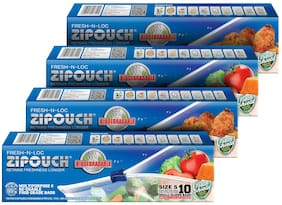 ZIPOUCH Fresh-N-Loc Bioderadable (Small) Microwave & Freezer Safe Retains Freshness Longer 42 Microns 10 pcs Each ( Pack of 4 )