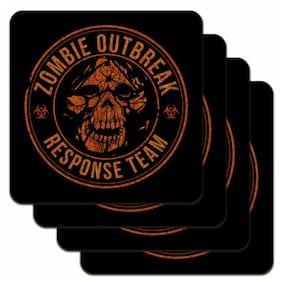 Zombie Outbreak Response Team Skull Yellow Circle Low Profile Cork Coaster Set