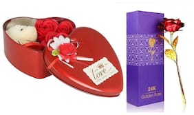 zukunft fashion 24K Gold plated Rose With TEDDY WITH HEART SHARPE BOX-gift for valentine day/marriage anniversary/showpiece/birthday gift/return gift