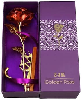 Zukunft Fashion 24K Red Rose Gift Set With Artifical Flower For Valentine Day -Set Of 1