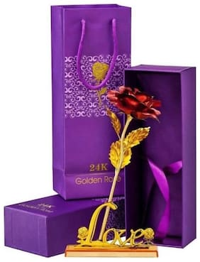 Zukunft Fashion 24K Red Rose Flower With Love Stand Golden Dipped -Gift For Valentine Day/Marriage Anniversary/Showpiece/Birthday Gift/Return Gift