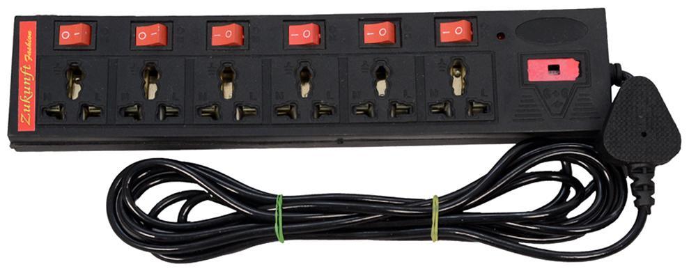 ZUKUNFT FASHION Three Pin Black Extension Board   3.5 m , 6 Socket , 6 Switches