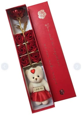 Zukunft Fashion Teddy Bear With Artifical Flower For Valentine Day/Teddy Day/Flower Day/Rose Day/Showpiece/Valentine Gift For Girl