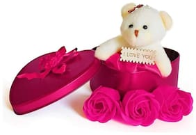 Zukunft Fashion Teddy Bear With Heart Shape Box For Valentine Day/Teddy Day/Flower Day/Rose Day/Showpiece/Valentine Gift For Girl