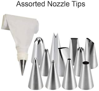 ZURU BUNCH 12 pcs Cake Decorating Set Frosting Icing Piping Bag Tips with Steel Nozzles Reusable & Washable,Cake Decorating,Cake Piping Bag,Cake Making Accessories