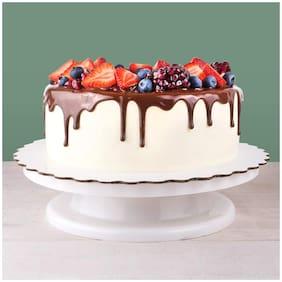 ZURU BUNCH New Cake Turntable Revolving Cake Decorating Stand Cake Stand Turntable Cake Decoration Turning Table Tool with Scraper Fondant Set 360° Round Easy Rotate Cake Server 28 cm