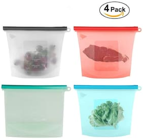 Zuru Bunch Reusable Silicone Food Storage Bag Containers, Airtight Seal Leak proof Freezer Bags (Color May Vary) (Pack of 4)