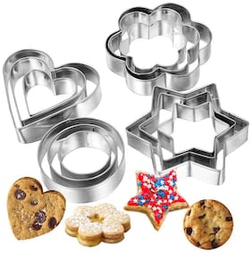 ZURU BUNCH Stainless Steel Cookie Cutter Set 12 pcs Includes- 3 Stars Shape,3 Flowers Shape,3 Round Shape,3 Hearts Shape- Cookie Cutter with 4 Shapes
