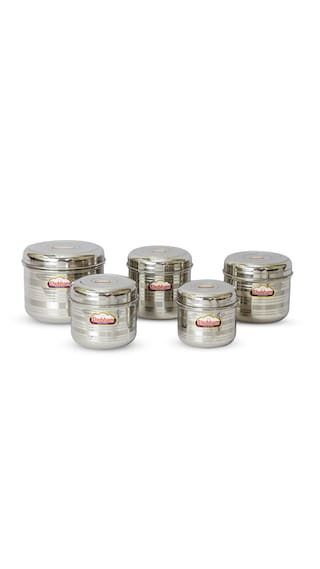 d83dbbb14 Buy Shubham Kitchen Storage Flat Steel Container 5 Pcs Set 0.9-2.9 ...