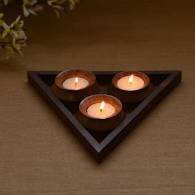 Unravel India Wooden 3 Tea Light Set With Base Tray