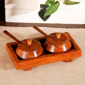 Unravel India Wooden Brown 2 Jar Set With Base Tray And Spoon