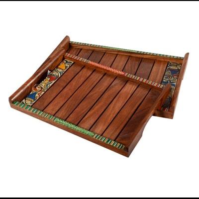 Unravel India Madhubani Painted Wooden Set Of 2 Trays