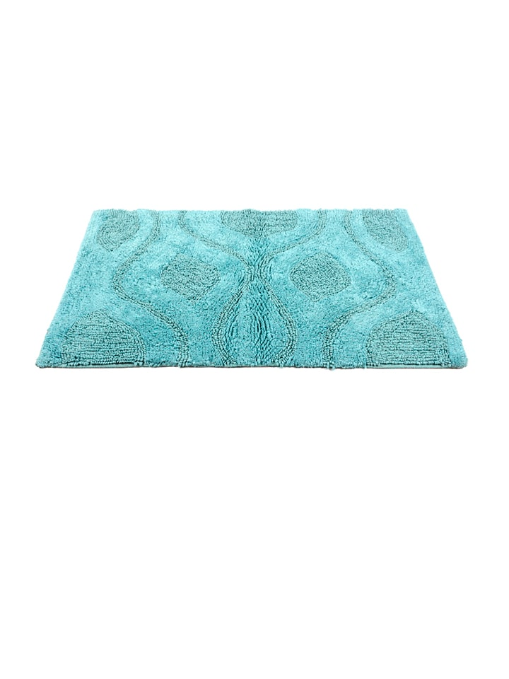 HomeFurry Blue BED FLOWER Cotton Bath Mat