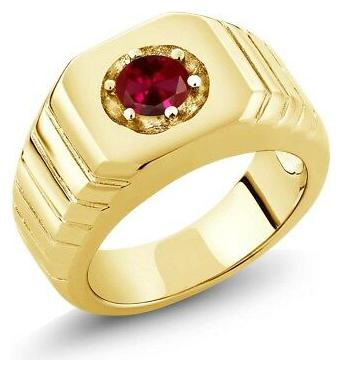 0.60 Ct Red VS Created Ruby 18K Yellow Gold Plated Silver Men's Solitaire Ring