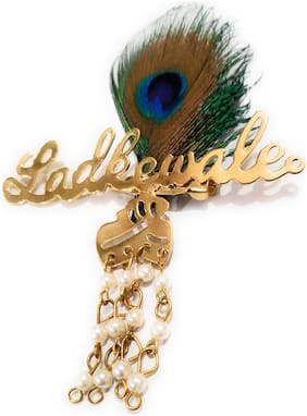 10 Pcs of Ladkewale Brooch in Metal with Peacock Feather
