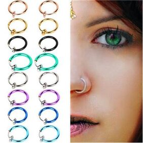 2 Pcs Fake Clip on Spring Nose Septum Ring Earring Non Piercing Unisex Jewelry