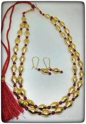 2 Stranded Gold  and Red dholki  beads necklace with Earrings