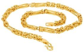 22K Gold Plated Ring Cut Designer Chain for Men & Boys