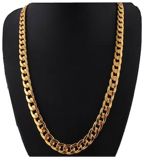 24K Gold Plated Gold Chain for Men and Boys Italian Curb Design Gold Chain for Men Fashion 8MM (18 inch) High Polished Chain