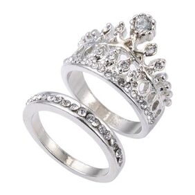 2pcs Crown Design Rhinestone Embellished 5.5 Size White Wedding Rings for Women From Damai Impex # International Bazaar