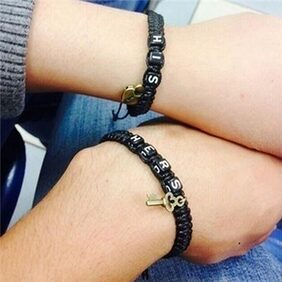 2Pcs Hers His Braid Tangle Couple Bracelets Gift Key Chain Lovers' Bracelets