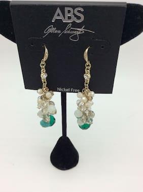 $55 ABS by Allan Schwartz gold tone stone & Crystal linear drop earrings CC16