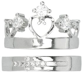 925 Silver Plated Queen of Hearts Crown Couple Rings (Adjustable Size)