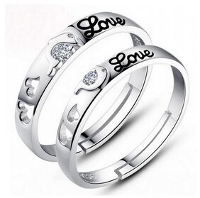 925 Silver Plated LOVE Solitaire Couple Rings (Adjustable Size)