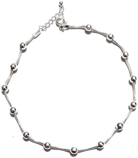 925 sterling silver hallmark one piece anklet(14 fix ball  with snake chain ) approx 6.5gm , adjustable with standard size