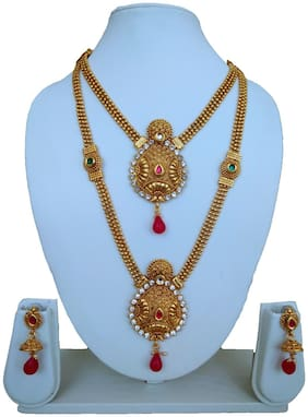 A.S. Creation Jalebi drop Design Two Layer Long Necklace Set For Womens & Girls