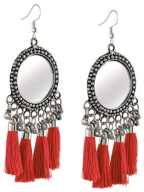 Aabhu Afghani Designer Vintage Oxidised German Silver Tribal Hoop Dangler Hanging Mirror Chandbali Tassal Earring Antique Jewellery for Girls & Women