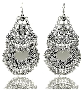 Aabhu Afghani Designer Vintage Oxidised German Silver Tribal Hoop Dangler Hanging Mirror Chandbali Earring Antique Jewellery for Girls & Women