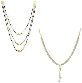 Aabhu Classic Combo of 2 Amercian Diamond Mangalsutra Jewellery Set for Women