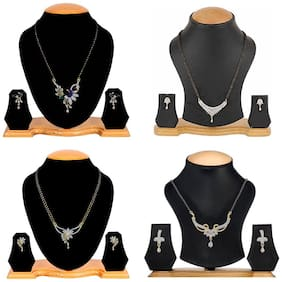 Aabhu Classic Combo of 4 Mangalsutra with Chain and Earrings Jewellery Set for Women