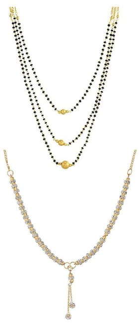 Aabhu Conventional Combo of 2 Amercian Diamond Mangalsutra Jewellery Set for Women