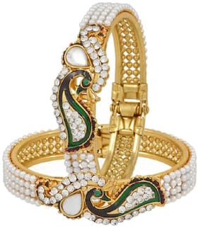 Aabhu Dancing Peacock Antique Gold Plated Bangle set / Kada / Bracelet for women