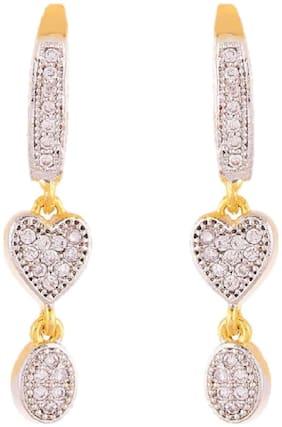 Aabhu Fancy Dangle Drop Gold Plated Heart Shaped American Diamond Earrings Jewellery For Women Girl