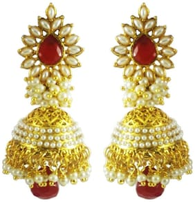 Aabhu Fashion jewellery Gold Plated Pearl Polki Stylish Fancy Party Wear Traditional Jhumka Jhumki Earring Earrings For Woman And Girl