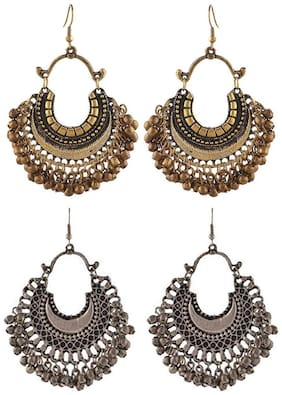 Aabhu Fashionable Stylish Fancy Party Wear Traditional Combo of 2 Pair Earrings