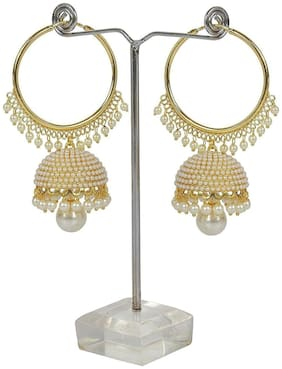 Aabhu Gold Plated Pearl beaded Jhumka Jhumki Bali Hoop Earrings Jewellery For Women and Girl
