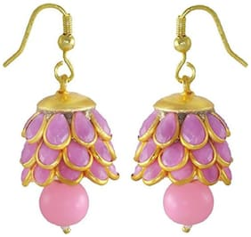 Aabhu Gold plated Pacchi Jewellery Stone Studded Pearl Beaded Handmade Jhumki Earrings For Women & Girls