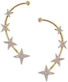 Aabhu Gold Plated American Diamond Star Shape Ear Cuffs Earrings Jewllery For Women And Girls